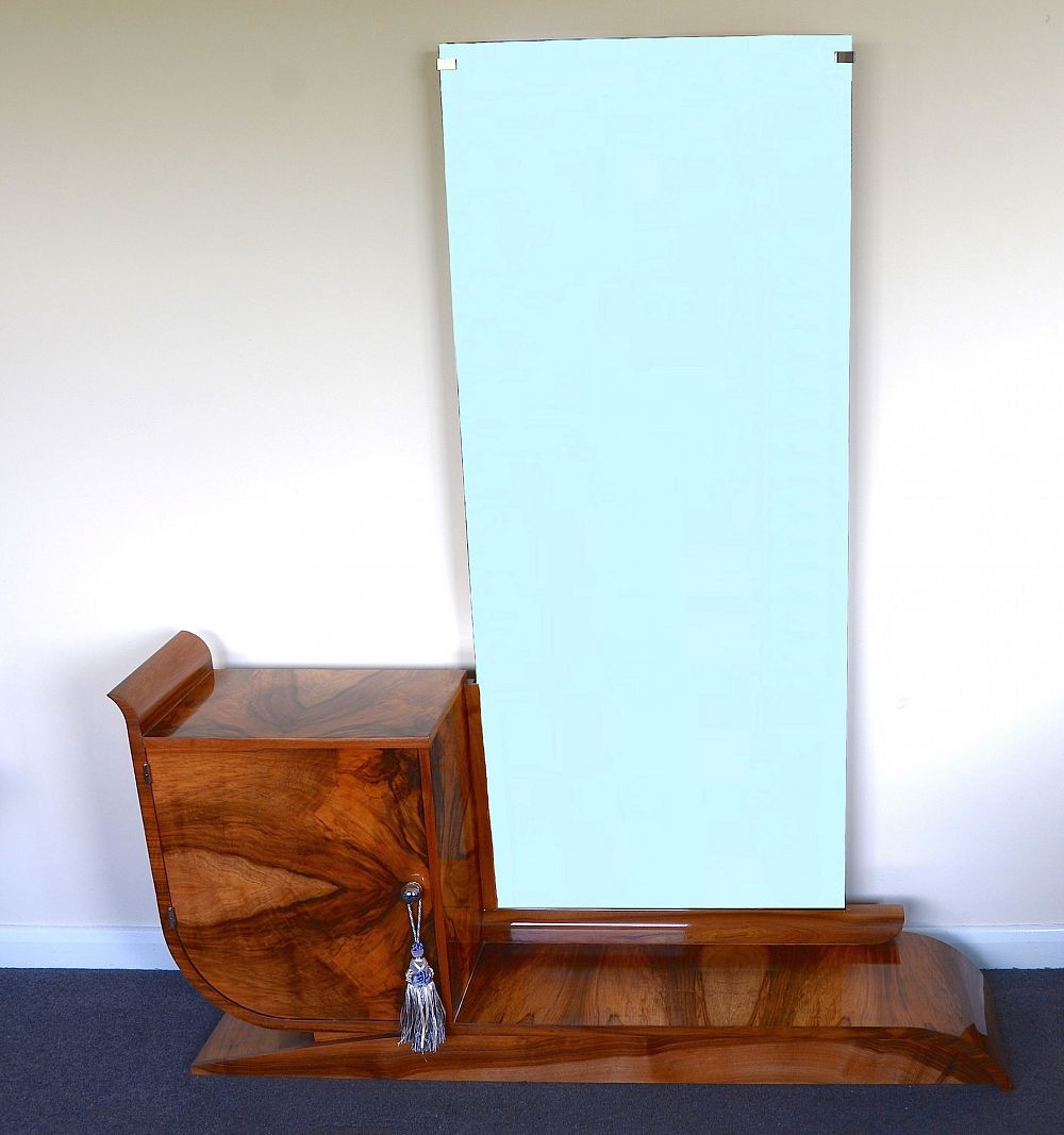 Art deco dressing table with integral long mirror from for Dressing table long